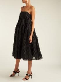 CECILIE BAHNSEN Sofie Fil Coupé Organza Black Dress
