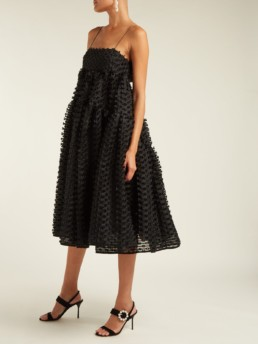 CECILIE BAHNSEN Sofie Fil Coupé Organza Black Dress