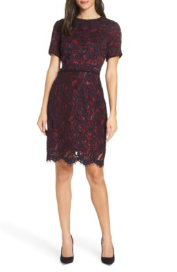 CHARLES HENRY Lace Sheath Navy / Wine Dress