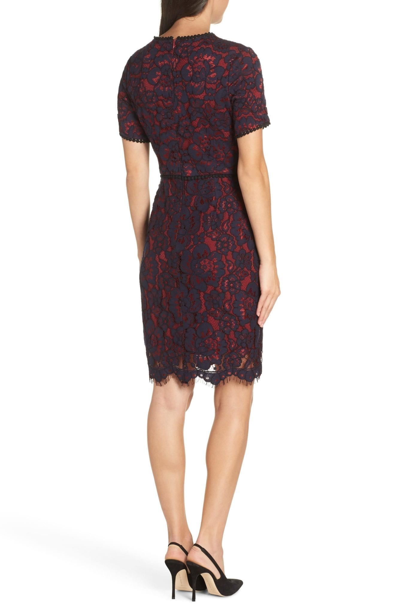 charles henry lace sheath navy wine dress we select