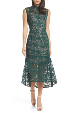 CHELSEA28 Lace Midi Green Dress