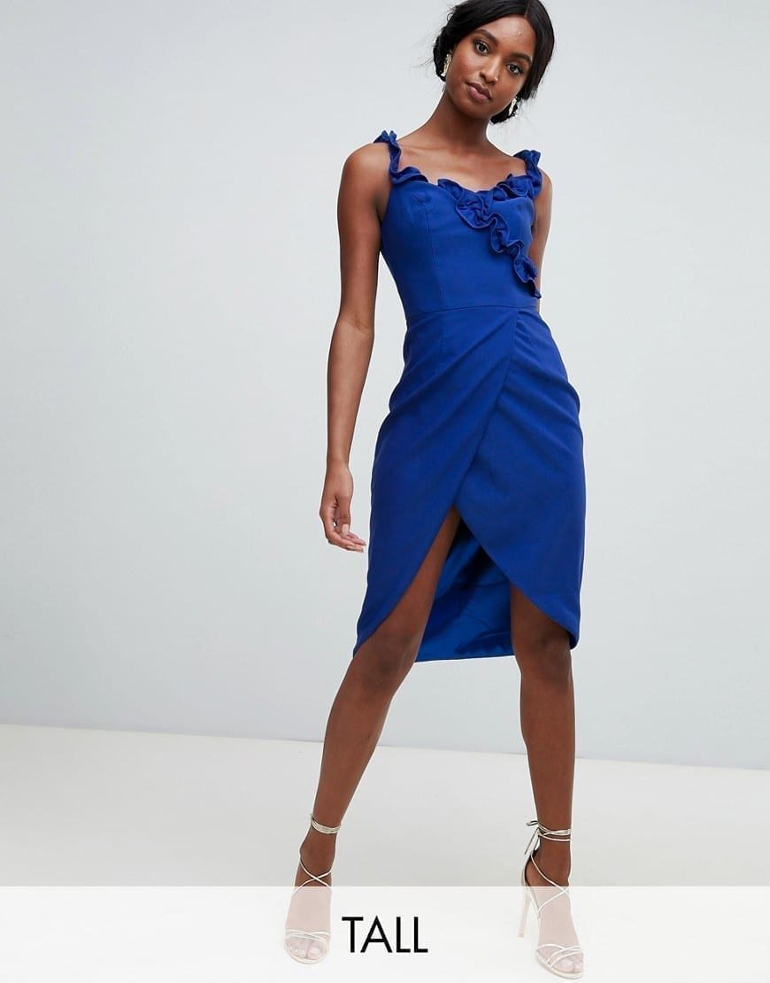 CHI CHI LONDON Frill Detail Tall Wrap Pencil Blue Dress