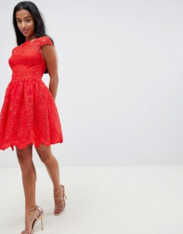 CHI CHI LONDON Petite Premium Lace Midi Prom Red Dress