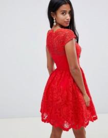 CHI CHI LONDON Petite Premium Lace Midi Prom Red Dress