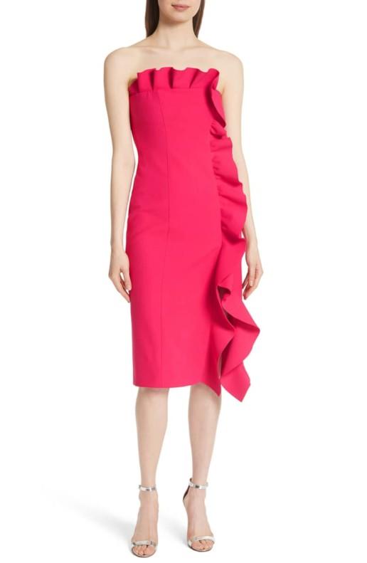 CINQ À SEPT Selma Ruffle Trim Strapless Red Dress