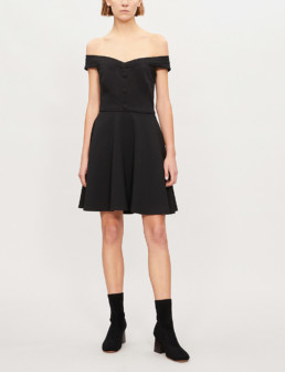 CLAUDIE PIERLOT Relove Off The Shoulder Crepe Black Dress