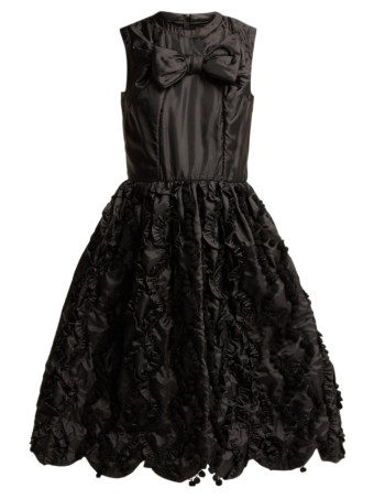 COMME DES GARÇONS GIRL Bow Trim Ruffled Satin Black Dress
