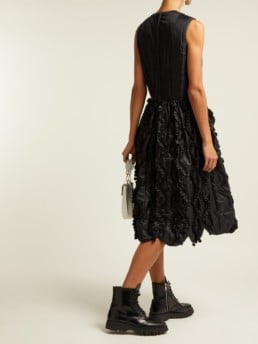 COMME DES GARÇONS GIRL Bow Trim Ruffled Satin Black Dress
