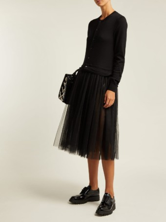 COMME DES GARÇONS GIRL Knitted Wool And Tulle Midi Black Dress