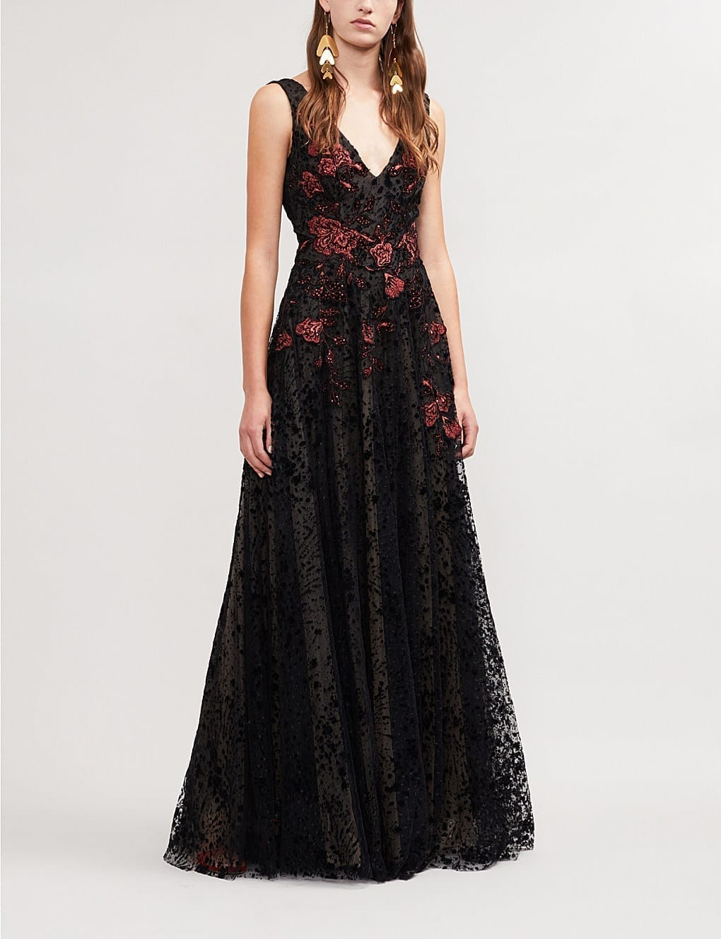 COSTARELLOS Floral Embroidered Flocked Tulle Black / Red Gown