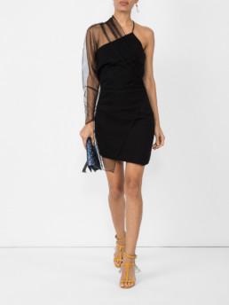 CUSHNIE Single Sleeve Mini Black Dress