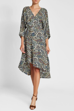 DIANE VON FURSTENBERG Asymmetric Silk Multi / Printed Dress