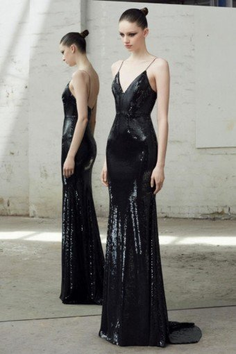 DISTRICT 5 BOUTIQUE Sleeveless Sequin Black Gown