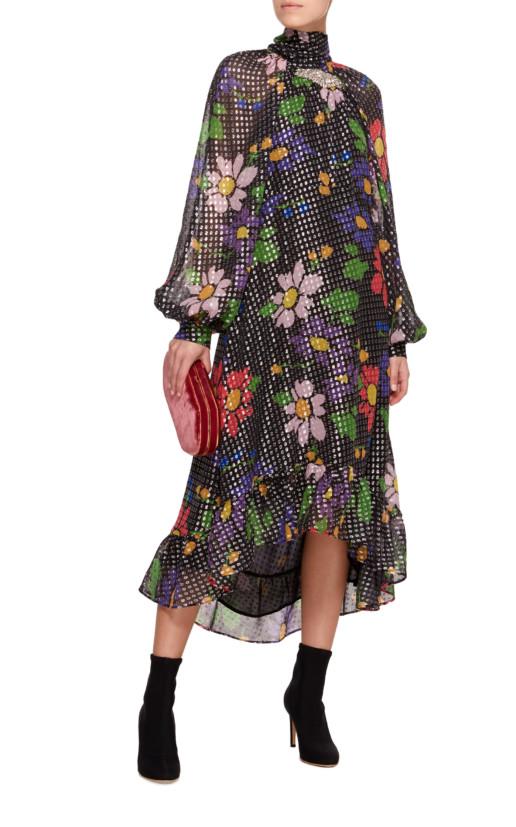 DODO BAR OR Barbara Ruffled Floral Lurex Midi Floral Dress