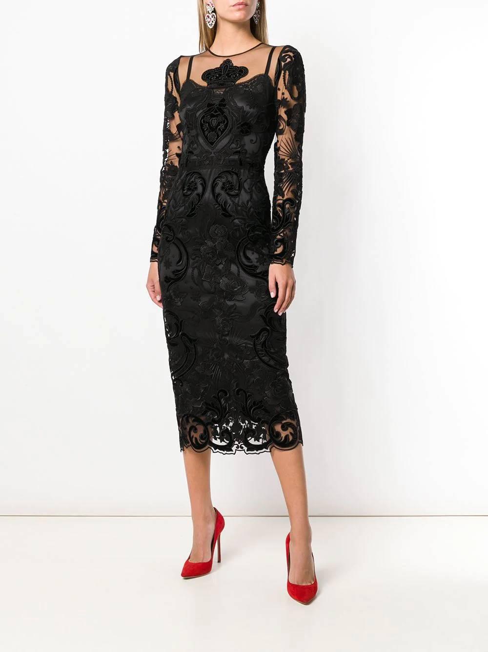 DOLCE-&-GABBANA-Floral-Panelled-Black-Dress