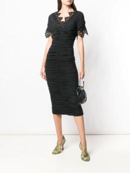 DOLCE-&-GABBANA-Lace-Trim-Ruched-Black-Dress