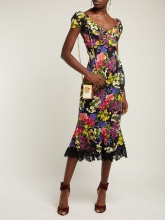 DOLCE & GABBANA Primrose Print Silk Blend Charmeuse Midi Black Dress