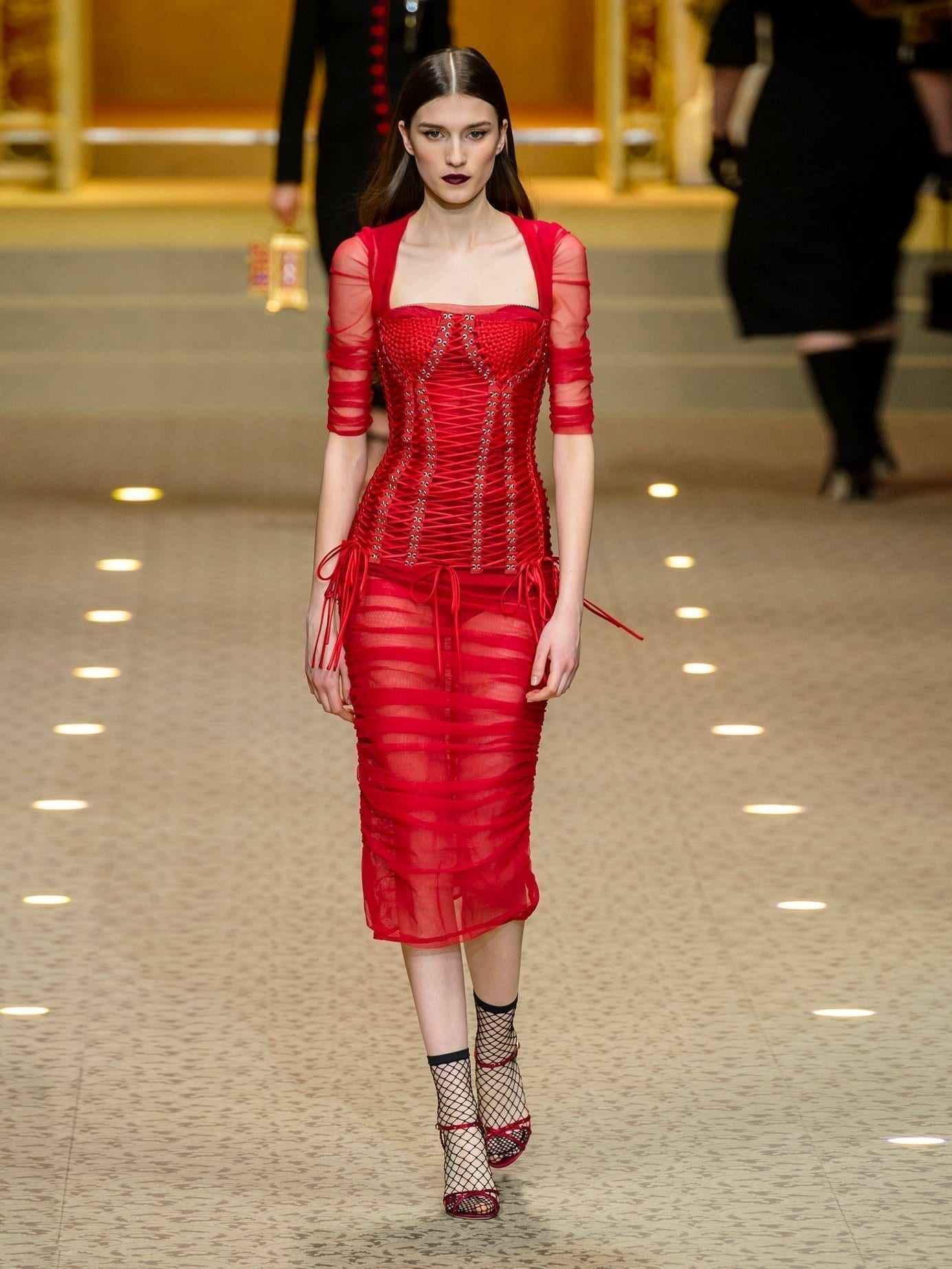 \u0026 GABBANA Ruched Tulle Midi Red Dress
