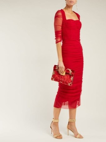 DOLCE & GABBANA Ruched Tulle Midi Red Dress
