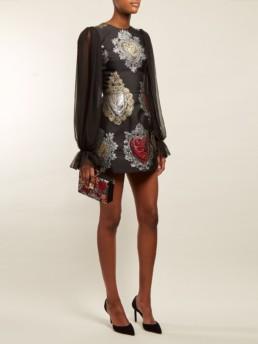 DOLCE & GABBANA Sacred Hearts Jacquard Mini Black Dress
