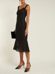 DOLCE & GABBANA Scalloped-Edge Lace Black Dress