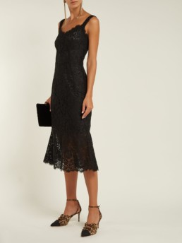 DOLCE & GABBANA Scalloped-Edge Lace Black Dress