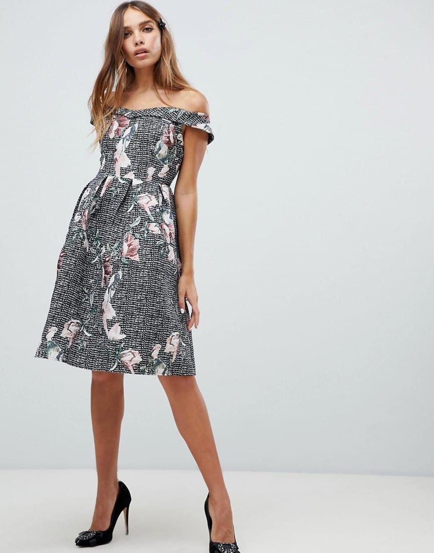 9f6e8dc493 Black Floral Bardot Midi Dress