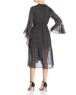DONNA KARAN NEW YORK Flocked Velvet Dot-Print Black Dress 2