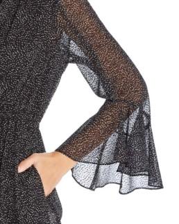 DONNA KARAN NEW YORK Flocked Velvet Dot-Print Black Dress 3