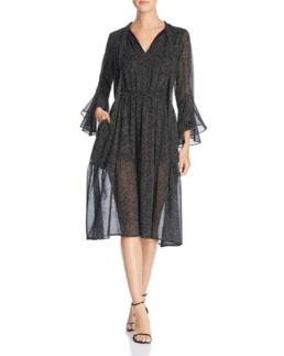 DONNA KARAN NEW YORK Flocked Velvet Dot-Print Black Dress