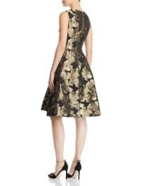 DONNA KARAN NEW YORK Metallic Floral Jacquard Black Dress 2