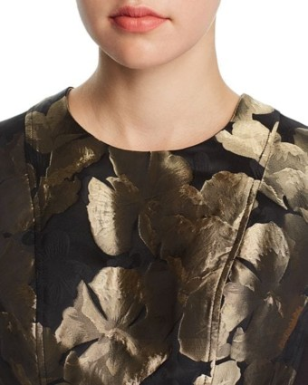 DONNA KARAN NEW YORK Metallic Floral Jacquard Black Dress 3