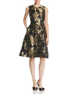 DONNA KARAN NEW YORK Metallic Floral Jacquard Black Dress