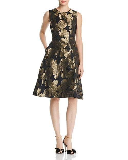 Donna Karan New York Metallic Fl Jacquard Black Dress
