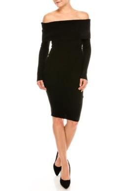 DOR L'DOR Off Shoulder Black Dress