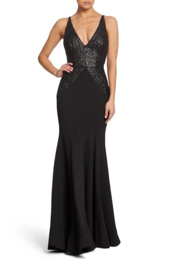 DRESS THE POPULATION Marlene Sequin Trumpet Black Gown