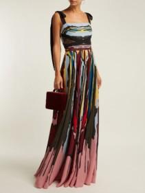 ELIE SAAB Abstract Print Crepe Black Gown