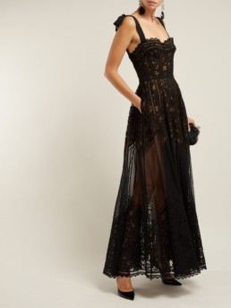 ELIE SAAB Floral And Ladder Lace Black Gown