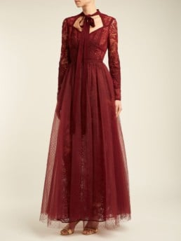 ELIE SAAB Pussy Bow Chantilly Lace And Tulle Burgundy Gown