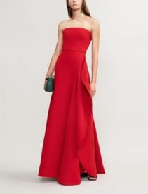 ELIE SAAB Strapless Asymmetric Woven Red Gown