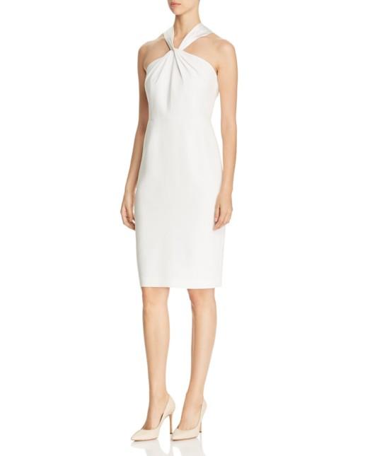 ELIE TAHARI Shaylynn Twist Neck White Dress