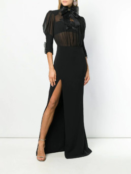 ELISABETTA-FRANCHI-Long-Star-Evening-Black-Dress