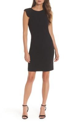 ELIZA J Extended Shoulder Sheath Black Dress