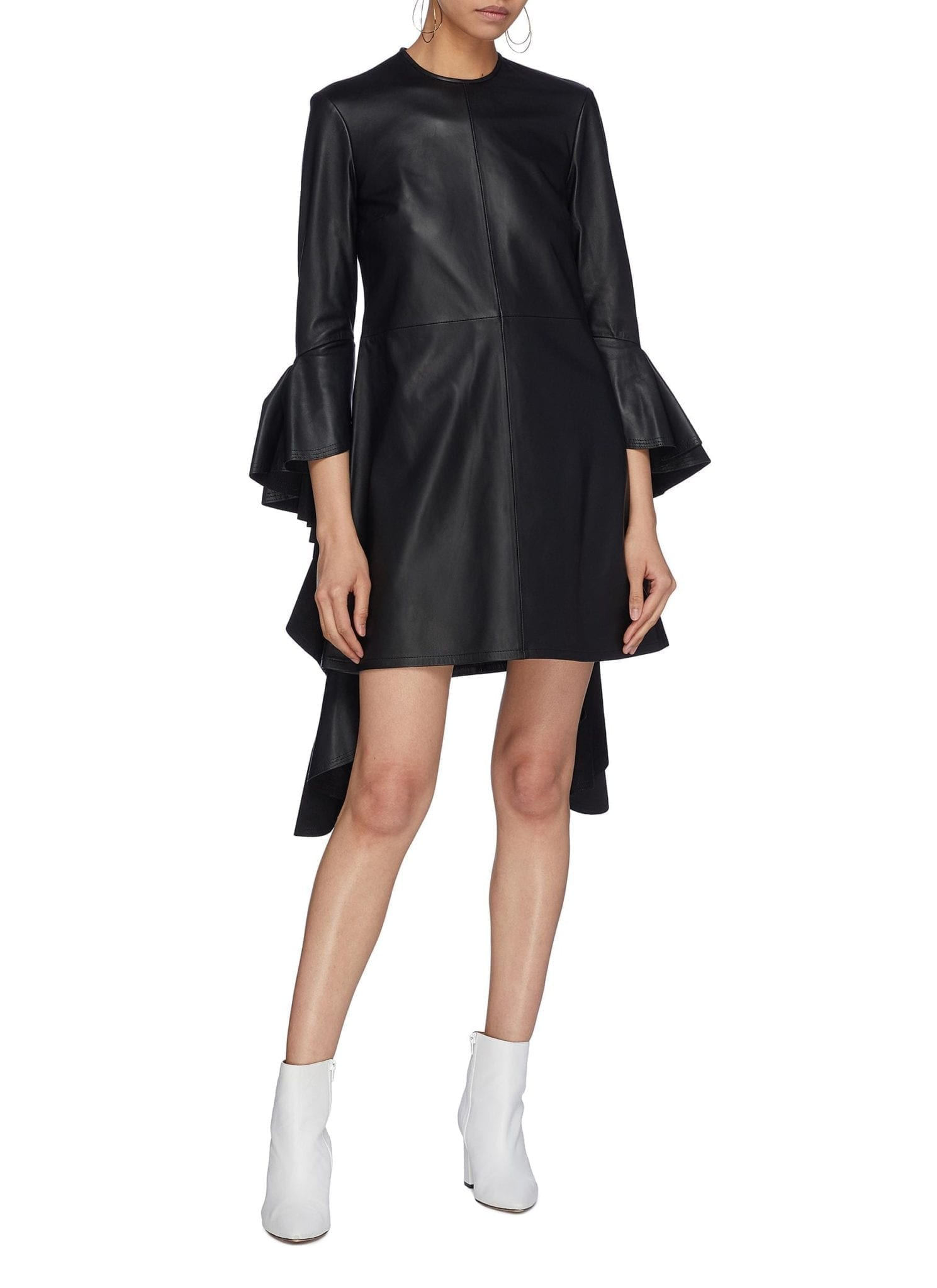 ELLERY 'Kilkenny' Ruffle Drape Sleeve Leather Mini Black Dress