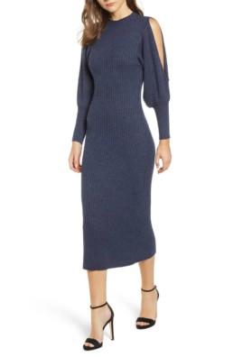 ELLIATT Jade Knit Cold Shoulder Blue Dress
