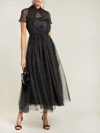 EMILIA WICKSTEAD Gabriel Glittered Tulle Black Gown