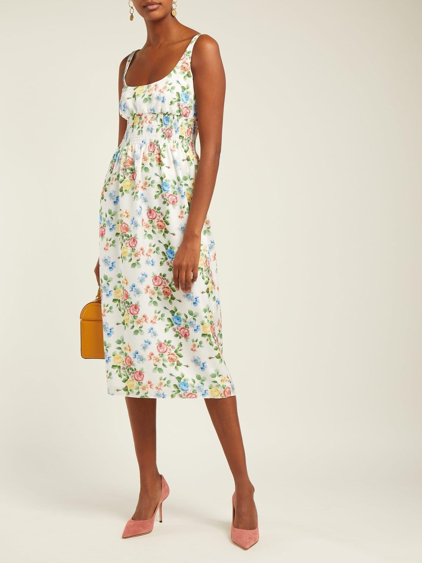 EMILIA WICKSTEAD Giovanna White / Floral Printed Dress
