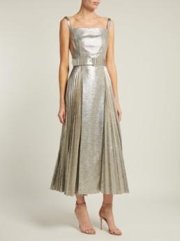EMILIA WICKSTEAD Ingrid Pleated Metallic Jersey Silver Dress