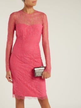 EMILIO DE LA MORENA Mona Lace And Silk Blend Mini Pink Dress