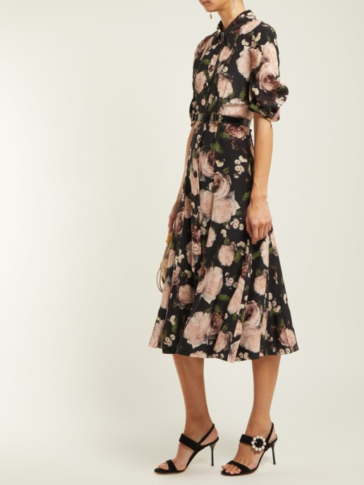 ERDEM Gisella Dutch Petal Print Midi Pink Dress